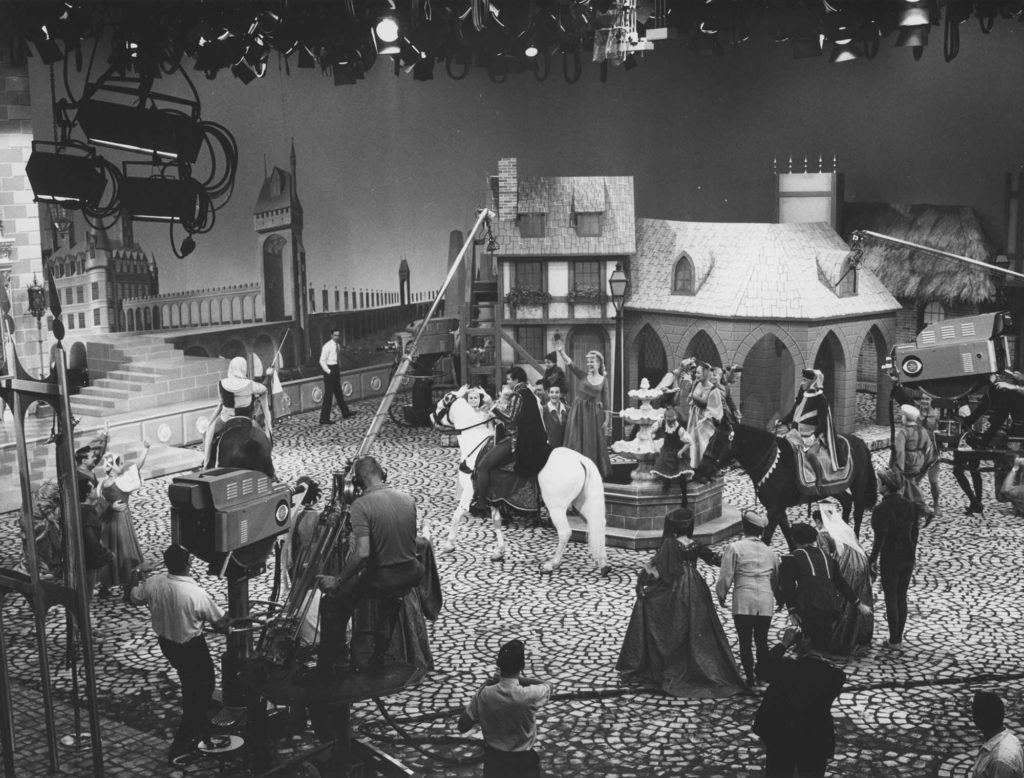 A production photo from the 1965 television broadcast of Cinderella.