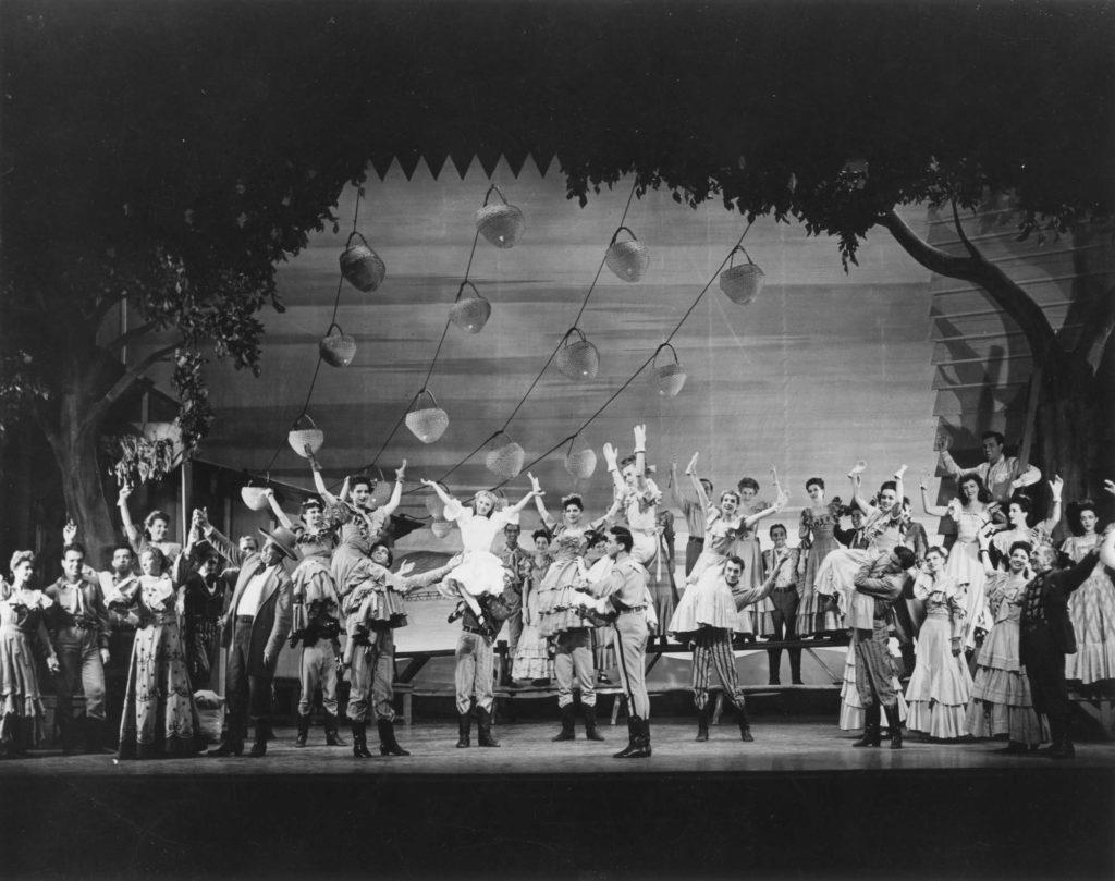 A photo from the 1943 Broadway production of Oklahoma!.